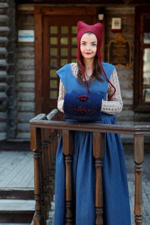 blue Tanya Tur dress - red Holywool hat - beige Tanya Tur sweater