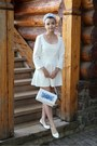 White-handmade-dress-sky-blue-handmade-bag