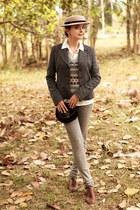charcoal gray Jacket jacket - dark khaki Levis jeans - beige handmade hat