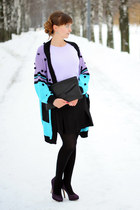 sky blue Fairground cardigan - black Vlieger&Vandam bag - periwinkle Jacklin top