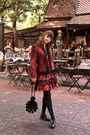 Black-thomas-munz-boots-maroon-artka-dress