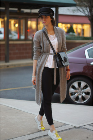 Burberry leggings - Armani Exchange cardigan - Prada sneakers