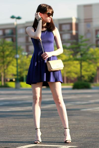 Aqua dress - tory burch bag - Zara heels