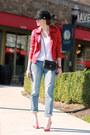 J-brand-jeans-calvin-klein-hat-guess-jacket-miu-miu-pumps