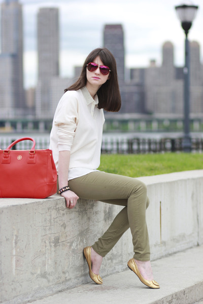 Armani Exchange shirt - Gap sweater - tory burch bag - Juicy Couture sunglasses