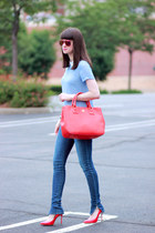 tory burch bag - Joes Jeans jeans - ray-ban sunglasses - Miu Miu pumps