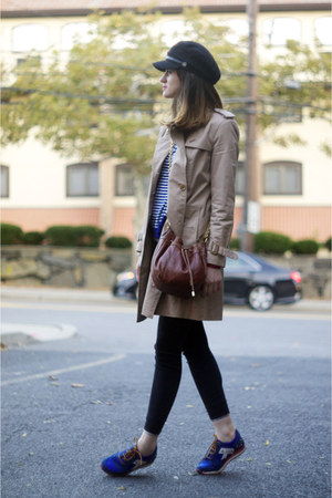 banana republic coat - Burberry leggings - Juicy Couture bag