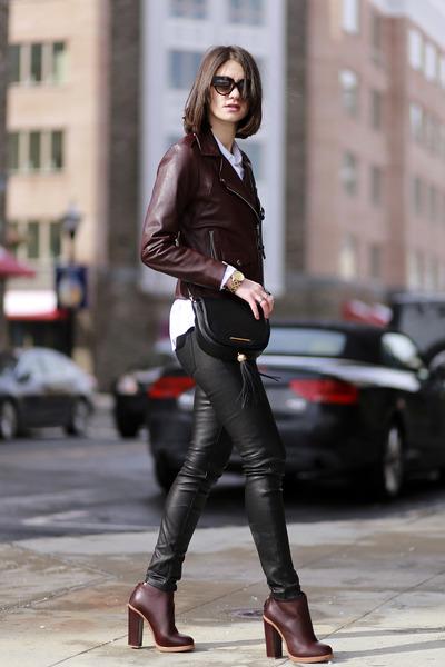 SANDRO jacket - Marc by Marc Jacobs bag - Ray Ban sunglasses - vince pants