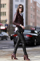 SANDRO jacket - Marc by Marc Jacobs bag - Ray Ban sunglasses - vince pants