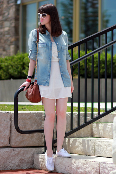 Mango shirt - Mango dress - ray-ban sunglasses - Vans sneakers