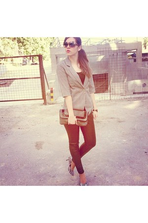 watch - shoes - greycotton jacket - sunglasses - leather pants - t-shirt