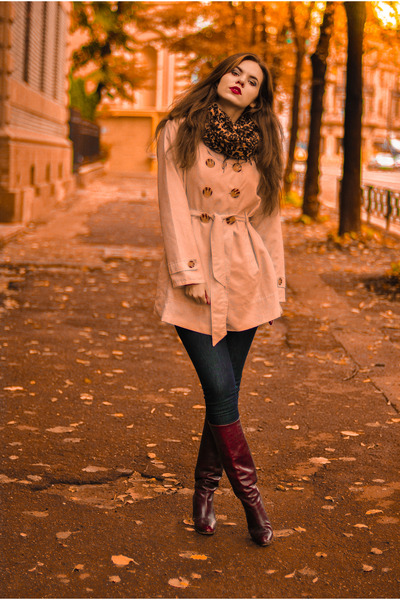 boots - coat - jeans - scarf