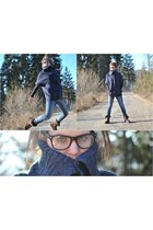 boots - jeans - sweater - blouse - glasses