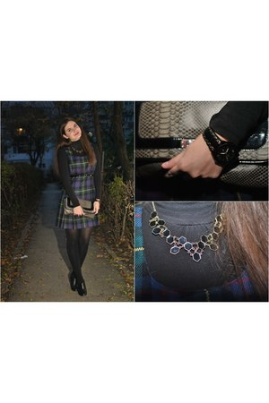 watch - boots - dress - purse - necklace - blouse