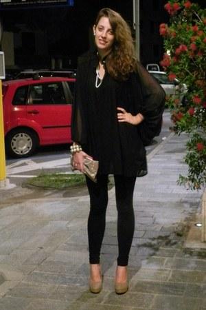 black vintage shirt - black Tally Weijl leggings - beige Accessorize bag