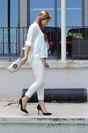 light pink Paige jeans - white H&M shirt - silver Anoushka Day Spa bag - black Z