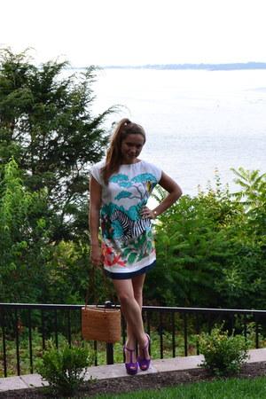 white Tibi dress - purple Aldo heels
