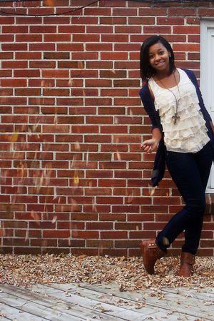 beige f21 blouse - brown shoes - blue f21 jeans - purple f21 cardigan - gold f21