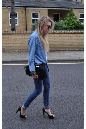 denim Primark jeans - denim Topshop shirt - feather Aldo bag