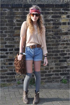 River Island boots - tassle Primark bag - denim Urban Oufitters shorts - Urban O