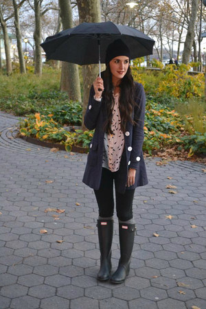 rain boots Hunter boots - black H&M jeans - Anthropologie hat