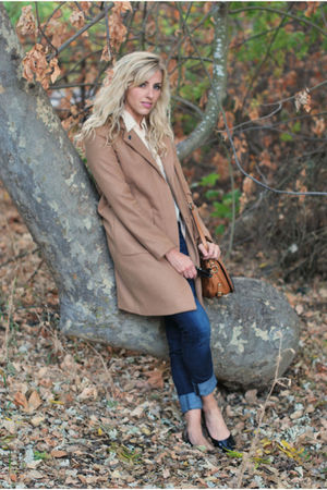 beige camel coat H&M jacket - blue Gap jeans