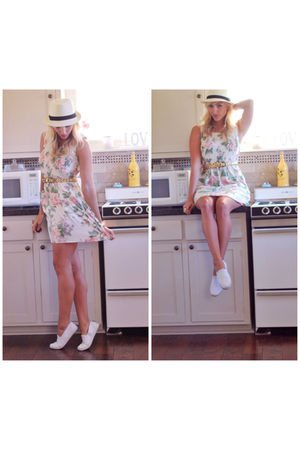 white vintage dress - beige Uniqlo accessories - white Urban Outfitters shoes