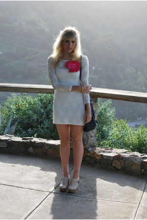 white Nasty Gal dress - beige Jeffrey Campbell shoes