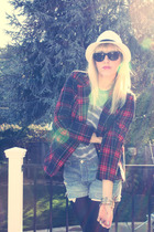 red vintage blazer - gray American Apparel top - blue Vintage Levis shorts - bla