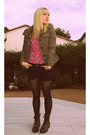 Green-abercrombie-and-fitch-jacket-pink-vintage-top-black-forever-21-shorts-