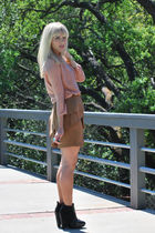 pink Zara top - brown Zara skirt - black sam edelman shoes