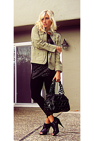 Gap jacket - Bebe dress - Forever 21 leggings - Betseyville purse