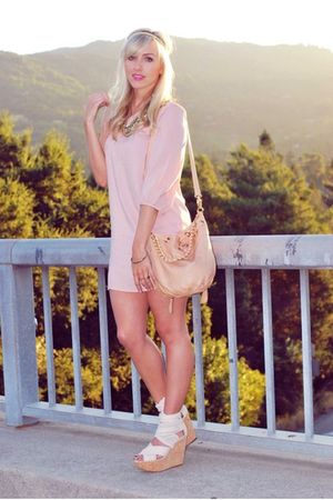 pink Spotted Moth dress - pink Topshop shoes - beige halleu accessories