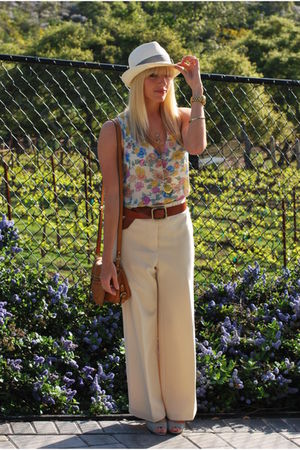 white floral Urban Outfitters top - silver wedges Aldo shoes - brown Zara belt