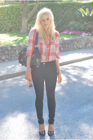 red flannel Forever 21 top - black jeggings Gap jeans