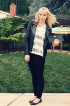 black Urban Outfitters jacket - white young fabulous & broke t-shirt - black joe