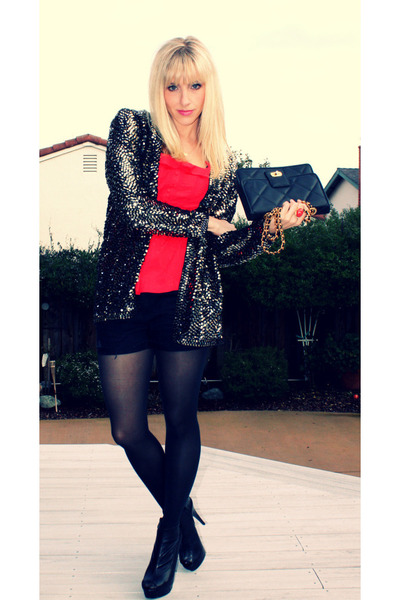 gold vintage cardigan - red Forever 21 top - black Forever 21 shorts - black Beb