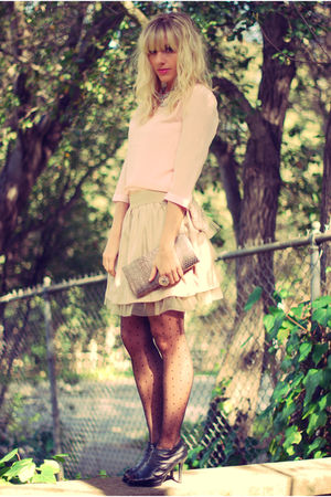 pink Urban Outfitters top - beige Forever 21 shirt - black Forever 21 tights - s