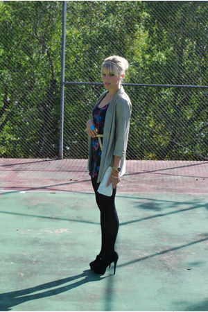 gold H&amp;M blazer - black MinkPink dress - black Aldo shoes - white vintage access
