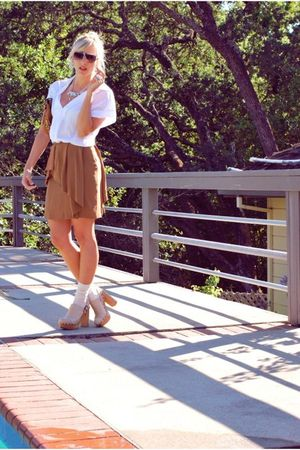 brown Zara skirt - beige clogs jeffrey cempbell shoes