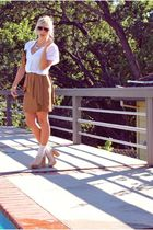 white Queens Wardrobe blouse - brown Zara skirt - beige jeffrey cempbell shoes