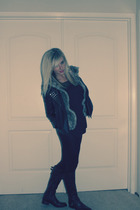 black Urban Outfitters jacket - black Nasty Gal top - black Aldo shoes - brown N
