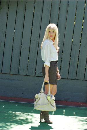 white H&M top - brown H&M shorts