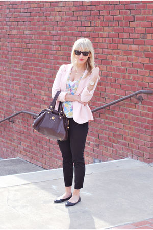 pink Forever 21 blazer - black Urban Outfitters shoes - black Jcrew pants
