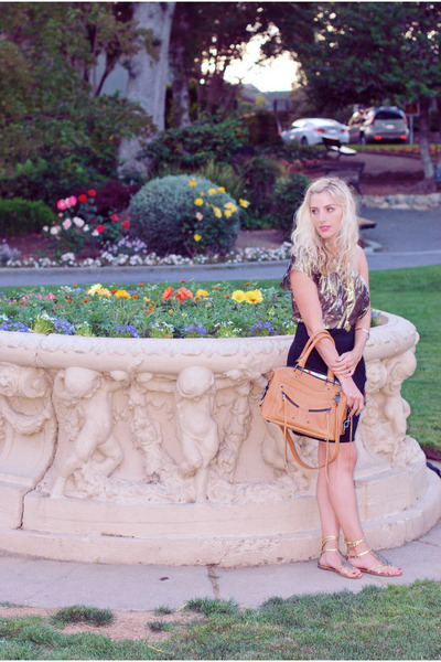gold top - black Urban Outfitters skirt - beige Rebecca Minkoff accessories