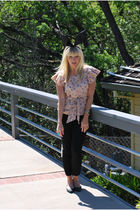pink hunter dixon top - black J Crew pants - black Urban Outfitters shoes - blac