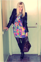 black H&M jacket - red H&M dress - black sam edelaman shoes - brown Marc by Marc