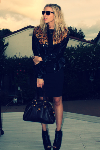 black vintage jacket - Zara dress - Bebe shoes - brown Marc by Marc Jacobs acces