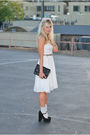 White-anthropologie-dress-brown-ralph-lauren-belt-black-forever-21-shoes