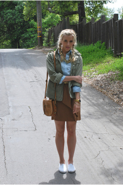 green Gap jacket - blue Uni Qlo top - brown Zara skirt - white Urban Outfitters